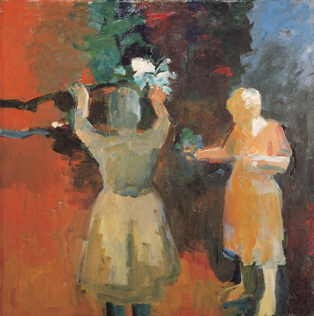 Elmer Bischoff, *Two Women in Vermillion Light*, 1959. Oil on canvas, 67 1/2 x 67 1/2 inches.