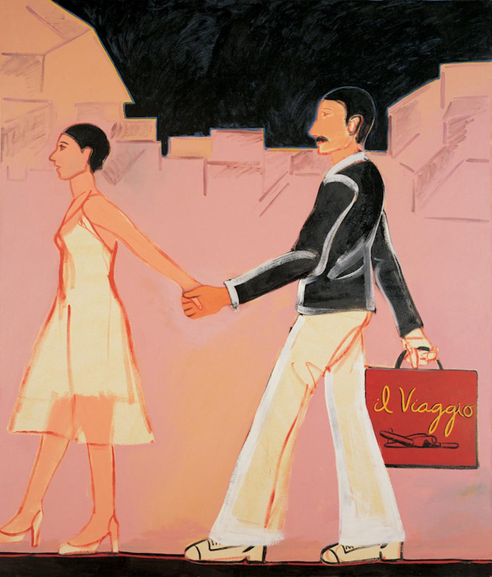 painting of a well dressed couple with the woman leading a man down a street while the man holds a shopping bag with the townscape in the background