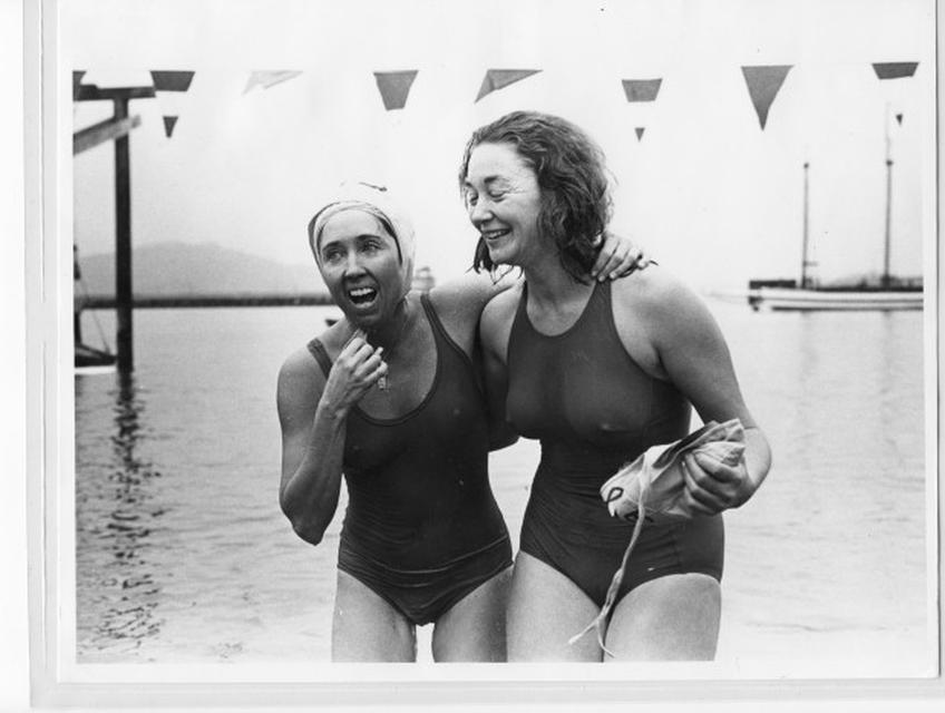 Joan Brown (left) and Karen Folger Jacobs, New Year's Day Alcatraz Swim, San Francisco, 1978.