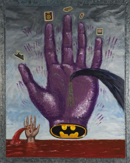 Enrique Chagoya, *Hand of Power (Mano Poderosa)*, 1992. Oil on steel, 60 1/4 x 48 1/4 x 3 5/8 inches.