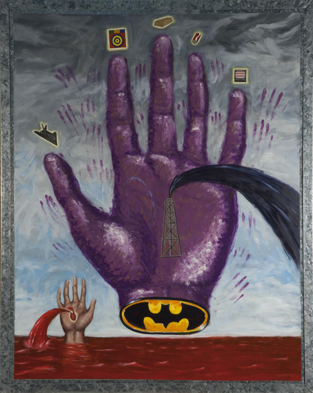 a painting of a purple floating hand with the batman symbol on the base of the palm while the palm spews unrefined oil over a bleedding human hand bleeding from a heart in its palm causing a sea of red against the gray sky in the horizon
