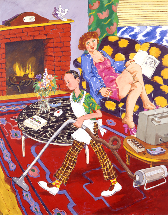 A painting of a young boy cleaning a house with an apron on while a mature woman lounges in her robe of the couch with a magazine watching him
