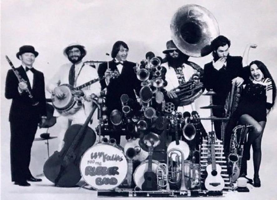 Llyn Foulkes (third from left) and the Rubber Band, 1974.