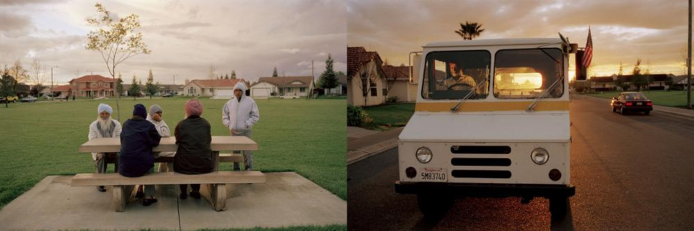 two scenes side-by-side one of a group of men at a picnic table in the park in the late afternoon and the other a postman in his van with the sunset in the background