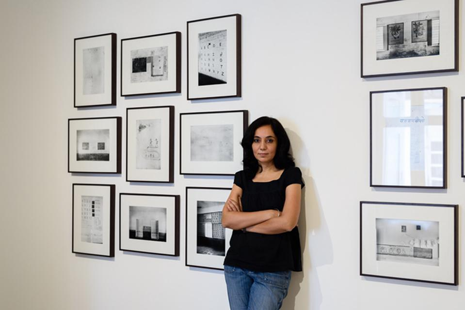 Gauri Gill at her exhibition *The Mark on the Wall*, Galerie Mirchandani + Steinruecke, Mumbai, April 2016.