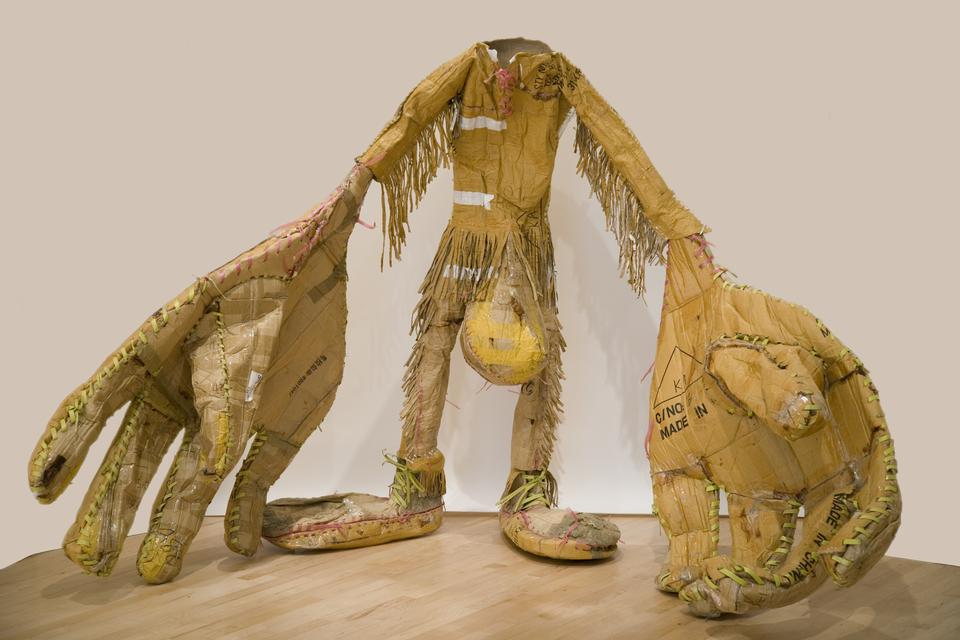 Tim Hawkinson, *Scout*, 2006–07. Cardboard, box strapping, and urethane foam, 69 1/2 x 103 x 68 inches.