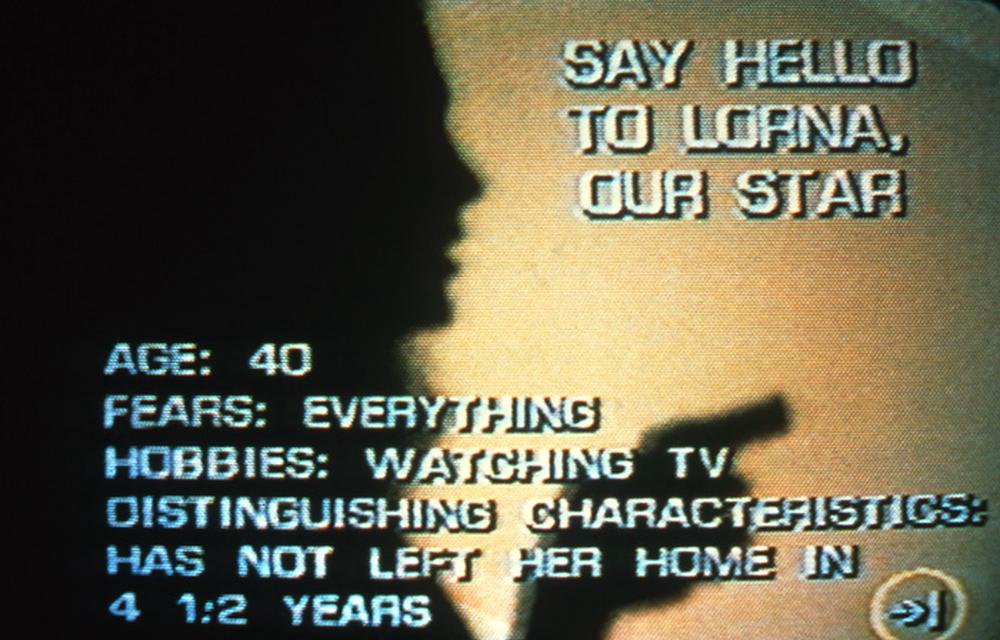 Lorna's sillouette behind text explaining her information like her age hobbies fears and a disgusting characteristic of not leaving her home for 4 and a half years