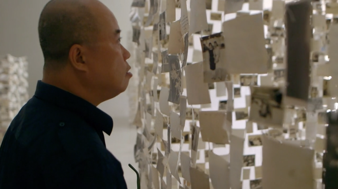Clip of Dinh Q. Lê installing *Crossing the Farther Shore* (2014) at Rice University Art Gallery, Houston, 2014.