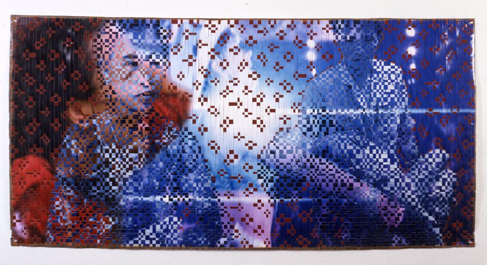 A photo-weaved collage of two contrasting images in a style that resembles vietnamese matts