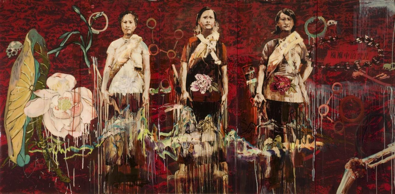 Hung Liu, *Shoah*, 2006. Archival digital pigment print and hand painting cast in resin on silk and board, 60 x 120 x 2 inches.