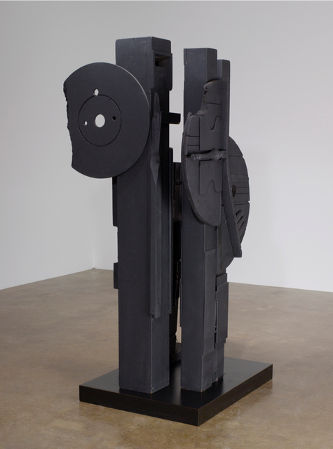 Louise Nevelson, *Cascades-Perpendiculars II (Night Music)*, 1980–82. Painted wood, 82 x 33 x 38 inches. San José Museum of Art. Gift of the Lipman Family Foundation, 2017.17.05.