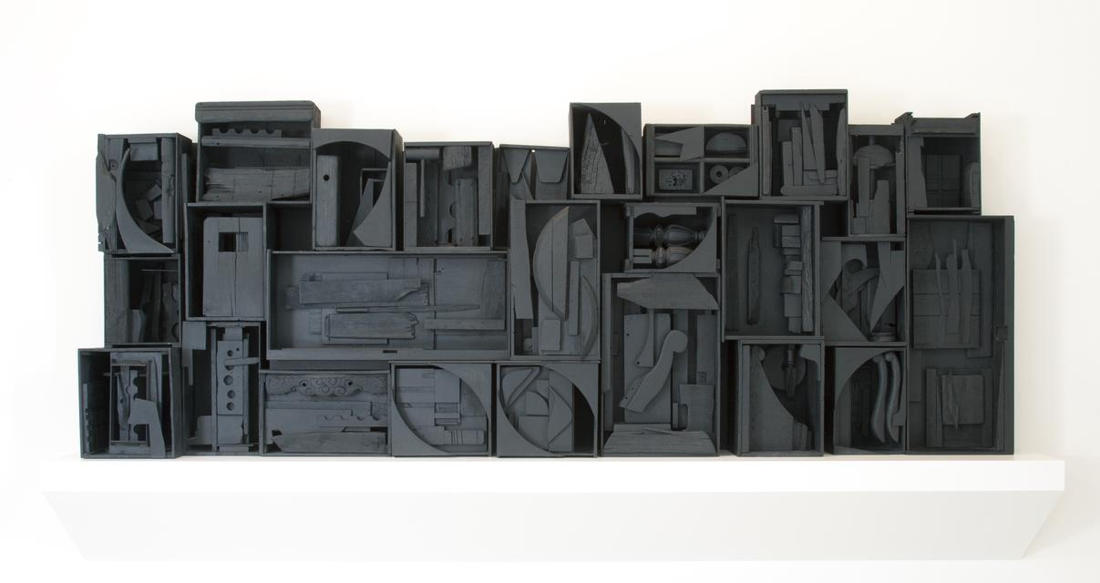Louise Nevelson, *Sky Cathedral*, 1957. Painted wood, 57 x 149 x 16 inches.