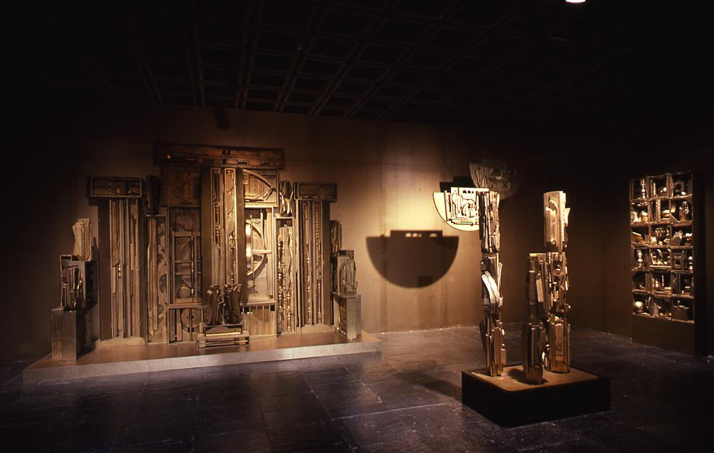 Installation image of Louise Nevelson's *Sun Garden I* at the Whitney Museum of American Art, New York, 1980.