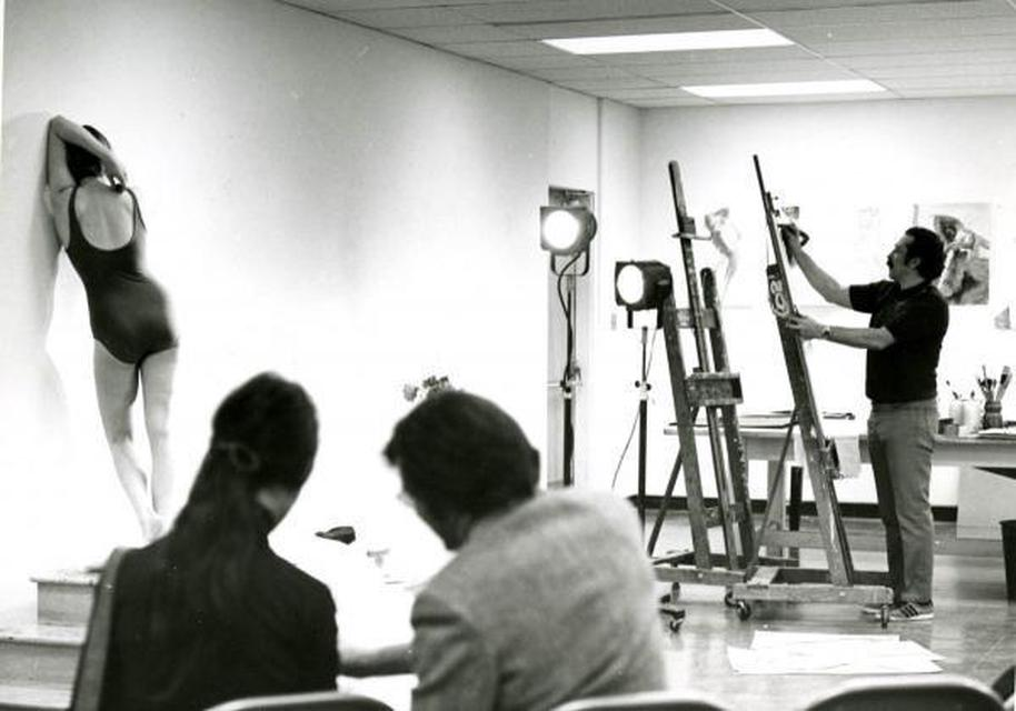 Nathan Oliveira giving a studio demonstration during a residence at Fullerton College, California, 1973.
