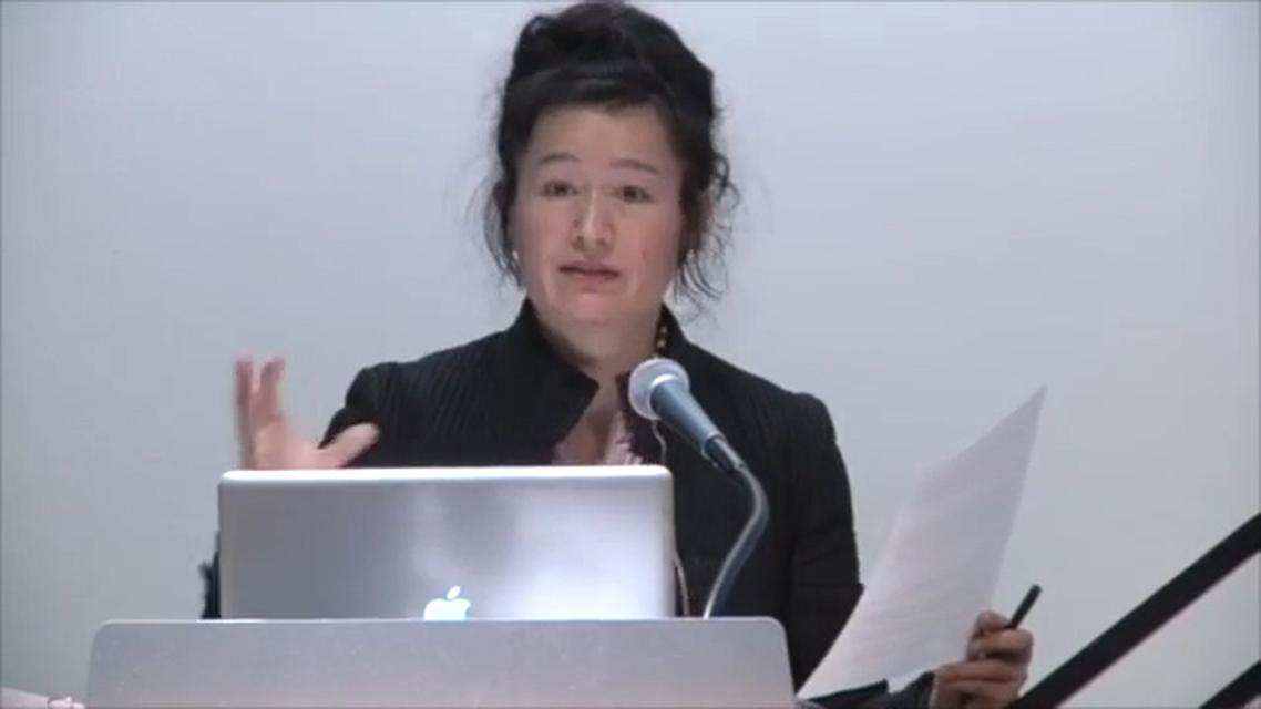 "Hito Steyerl lecturing at ""The Photographic Universe II"" conference, The New School, New York, April 2013."
