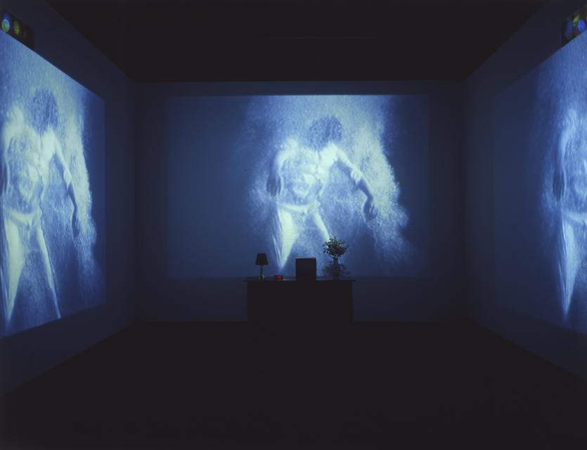 Bill Viola, *The Sleep of Reason*, 1988. Wooden chest, vase and artificial roses, alarm clock, lamp, and video (black-and-white and color, sound), 169 x 230 x 264 inches overall.