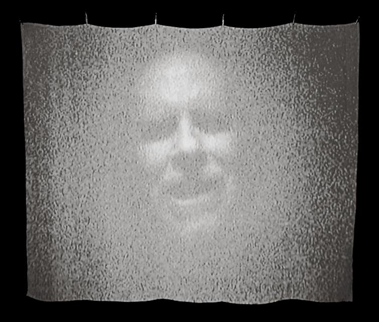 Video still from Bill Viola, *Memoria*, 2000. Projection on silk, 24 x 30 x 60 inches.